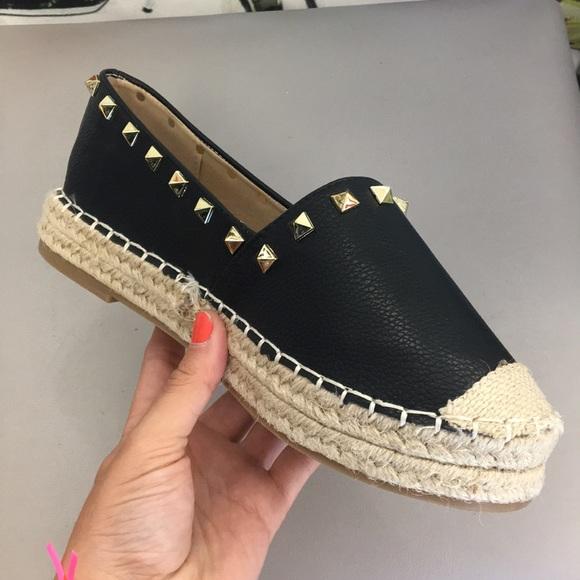 Shoes | Black Studded Espadrille Slip